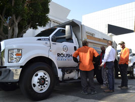 Members of Los Angeles County Public Works check out the propane autogas powered Ford F-750.