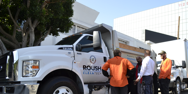 Members of Los Angeles County Public Works check out the propane powered Ford F-750 Thursday...