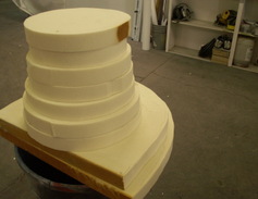 The mole is several rows of 2-inch wide poly urethane that is glued together, then carved.