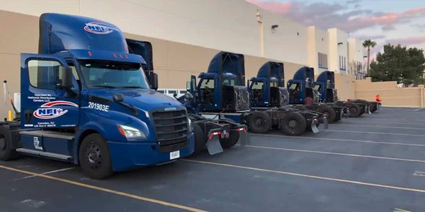 The eCascadia all-electric heavy duty truck is lined up and ready for fleet service. Fleet...