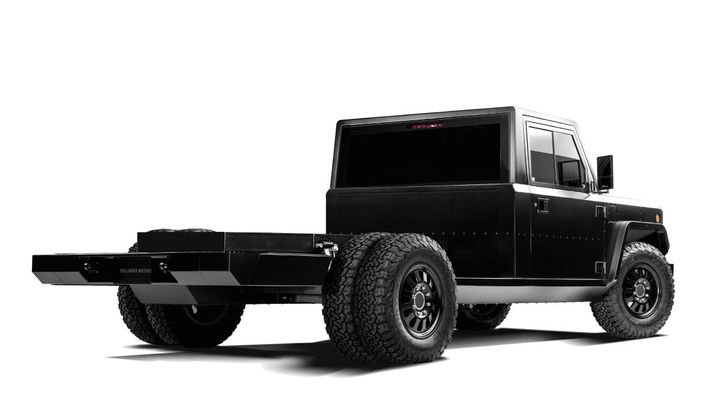 One of Bollinger Motors' key products for the commercial truck market is the B2 Chass-E Cab, an electric Class 3 rear-wheel drive cab and chassis platform that can be adapted to various fleet applications by upfitters and aftermarket manufacturers. The cab comes in two and four door versions. - Photo: Bollinger Motors