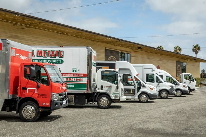 A SEA Electric lineup of trucks electrified by their power driven systems, which can be applied to most commercial truck and bus models. - Photo: SEA Electric