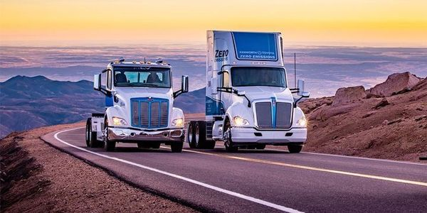 Zero-emission trucks are coming a long way in capability. A pair of Paccar zero-emission trucks...