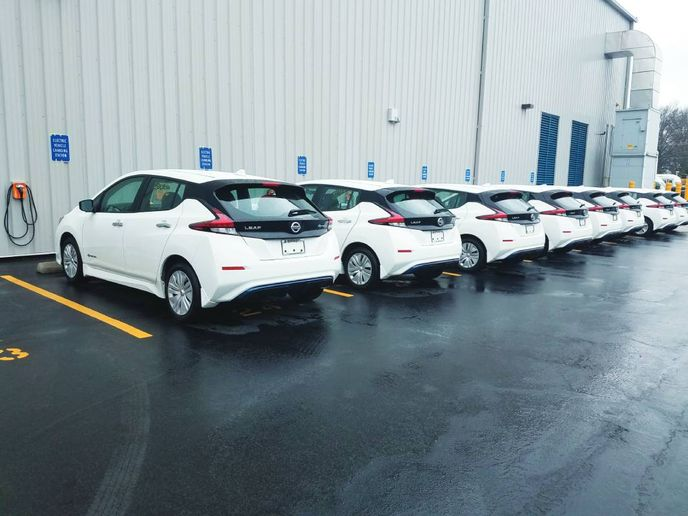ChargePoint CPF25 stations used to power company vehicles for a fleet in Ohio. - Photo: Merchants Fleet