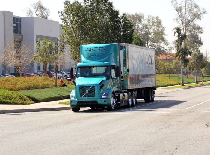 Quality Custom Distribution (QCD), a national food service logistics provider, uses the Volvo VNR Electric — a zero-emission, battery-electric truck. - Photo: QCD in Work Truck