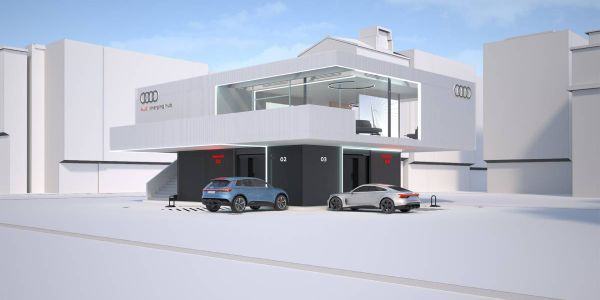 A lounge will provide Audi EV customers with an upstairs loung area to wait while their vehicles...