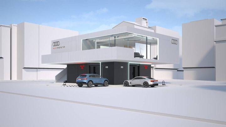 A lounge will provide Audi EV customers with an upstairs loung area to wait while their vehicles charge and enjoy a variety of amenities, such as snacks, drinks and non-food items. - Image: Audi