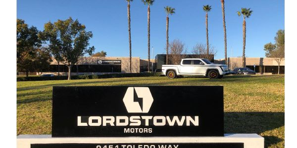 An Alpha prototype of the Lordstown Endurance all-electric pickup truck on display on Jan. 14,...