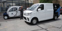 An ELMS Urban Delivery van on the University of Notre Dame campus. The ELMS testing program will...