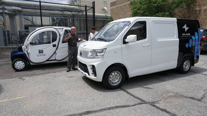 An ELMS Urban Delivery van on the University of Notre Dame campus. The ELMS testing program will assess how the university can advance both efficiency and sustainability within its operations by using purpose-built electric vehicles. - Photo: ELMS