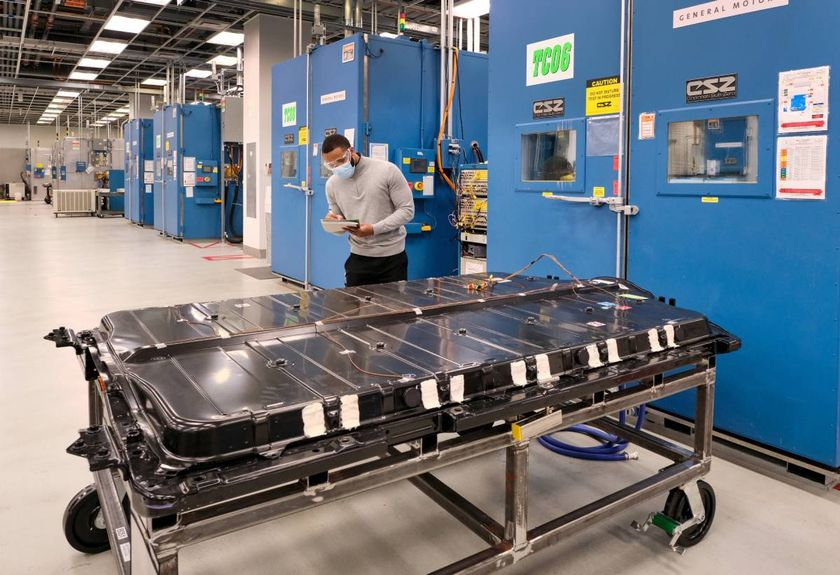 Lithium is a key ingredient in General Motors' Ultium battery packs, like this one being tested...