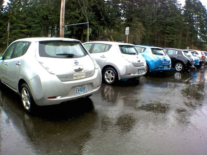 The Nissan LEAF electric vehicle will lead the way toward a goal of 40% of all Nissan models sold in the U.S. to be all-electric by 2030. - Photo: Oregon D.O.T.
