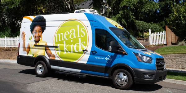 The zero emission Lightning Electric Transit Van has joined the fleet of Meals on Wheels People...