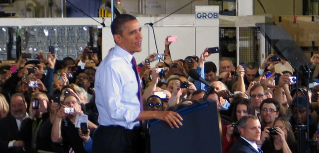 President Barack Obama speaks to employees at the Detroit Diesel plant outside Detroit, where the new Detroit automated manual transmission will be built.
