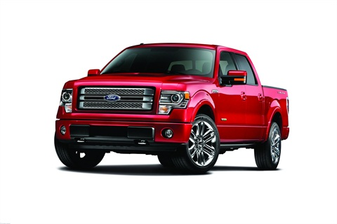 New for MY-2013, the F-150 Limited (above) features updated interior features and badging. Under the hood, the F-150 Limited has a 365 hp 3.5L Ti-VCT EcoBoost gasoline engine, which achieves 22 mpg highway for the 4x2 model.