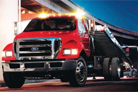 The rollback/wrecker for the Ford F-650 and F-750 is among the automaker's most popular vocational applications, ideal for both large and small towing operations.