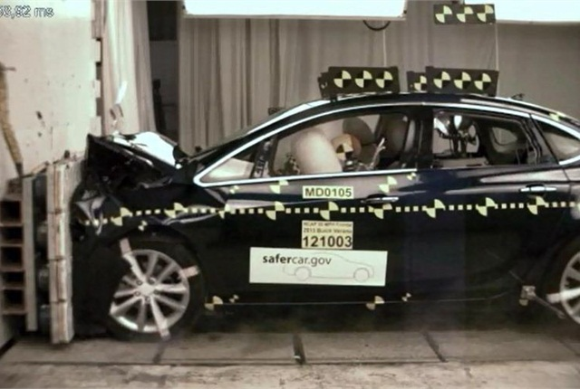 The 2013-MY Buick Verano in one of its crash tests.