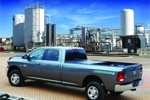 The CNG-only range of the Ram 2500 CNG pickup is 255 miles. The gasoline backup extends the range to 367 miles.