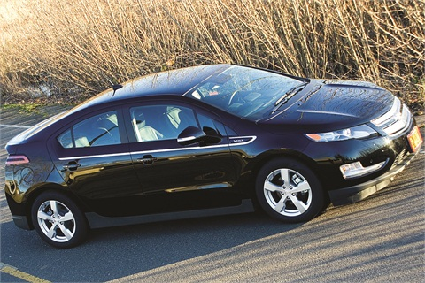 """Lowered vehicle prices have allowed state agencies to purchase more """"green"""" vehicles, including the Chevrolet Volt driven by Governor John Kitzhaber. Photo courtesy State of Oregon."""