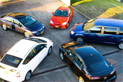 """Pictured are """"best value"""" vehicles purchase by Oregon state agencies: Honda Civic Hybird, Honda Civic CNG, Toyota Prius, Chevrolet Volt, and a Dodge Grand Caravan flex-fuel vehicle. Photo courtesy State of Oregon."""