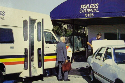 Payless then and now: Near-airport locations have given way to on-airport counters and space in new consolidated rental facilities, such as the one in Miami International Airport.