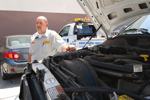 Heller checks under the hood. Ram 4500 and 5500 Chassis Cab trucks come equipped with the 6.7L Cummins Turbo Diesel engine that produces 305 hp at 2,900 rpm and 610 lb.-ft. of torque at 1,600 rpm.