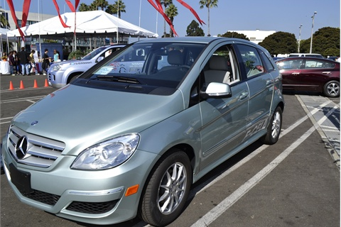 Photos by Joanne Tucker The Mercedes B-Class hydrogen fuel cell vehicle.