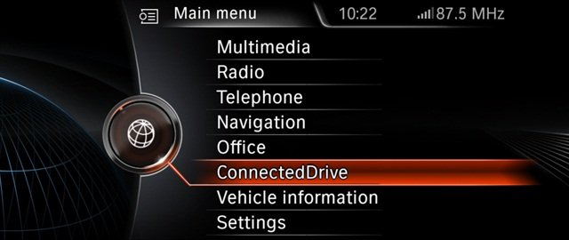 A new ConnectedDrive menu screen.