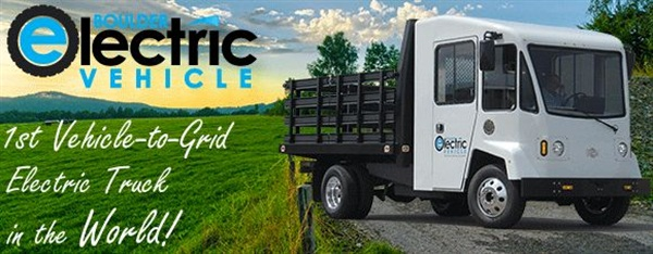 The first Vehicle-to-Grid electric truck in the world was actualized by Boulder Electric Vehicle and Coritech Services.