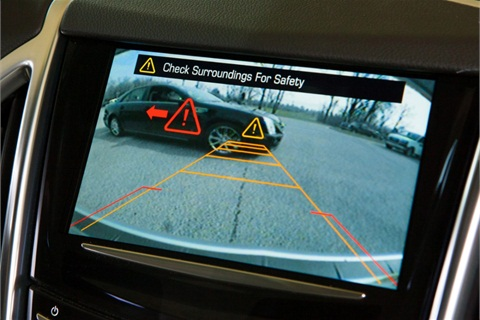 If the driver fails to respond to alerts -- such as the Safety Seat Alert, vibrations or rear vision camera notifications -- and a crash is imminent, the automatic braking is designed to apply the brakes and stop the vehicle. (Photo by John F. Martin for Cadillac)