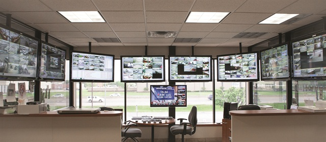 Dave Capps, owner of Capps Van and Truck Rental in Texas, Oklahoma and Arizona, monitors all 15 locations 24/7 in this control room. He was able to tap into his own workforce to install and maintain the systems.