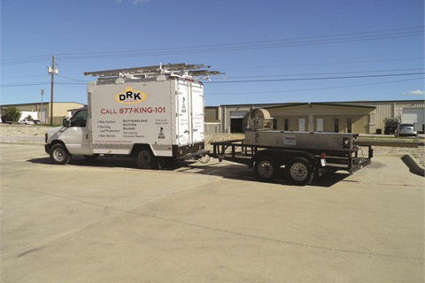 The propane autogas tank in the truck bed helps add tongue weight — the downward force the trailer tongue applies to the hitch — to the Dallas Rain King trailers.