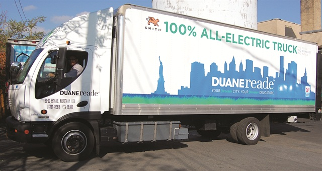 Photos courtesy of Duane Reade.Duane Reade's all-electric trucks are from Smith Electric. Duane Reade chose the 80-kWh battery-electric Newton 24-ft. box truck.