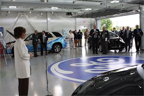 "Deb Frodl (above left) noted, ""[The Vehicle Innovation Center's dedication] isn't an event — it's a long-term commitment by GE to alternative fuels. We want to lead the way and help fleet customers make sustainable choices that are right for their companies."""