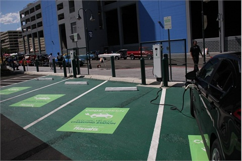 Harrah's Reno electric vehicle (EV) charging stations.Photo courtesy Ceasers Entertainment Corporation