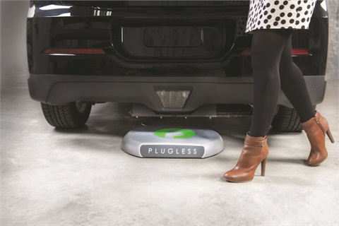 The Evatran Plugless Power uses inductive power transfer technology to wirelessly charge the all-electric Nissan LEAF or Chevrolet Volt.