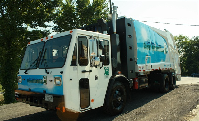 The City purchased the two CNG trucks with grant funding. Photo courtesy of the City of Greensboro.
