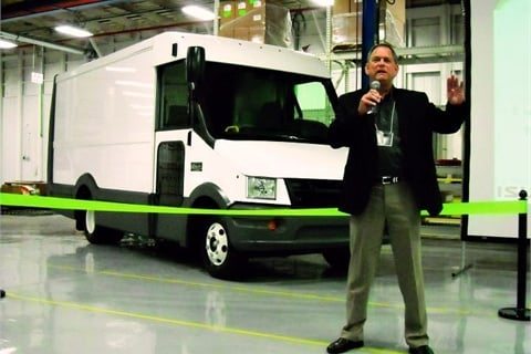 Shaun Skinner, EVP and general manager for Isuzu Commercial Truck of America, presents during the ribbon-cutting ceremony.