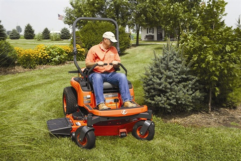 Available in 48- and 54-inch options, Kubota's ZD221 offers a 21 hp Kubota diesel engine in a compact zero-turn frame.
