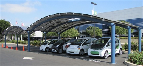 A solar-powered EV charging station at Mitsubishi Motors' North American headquarters in California.