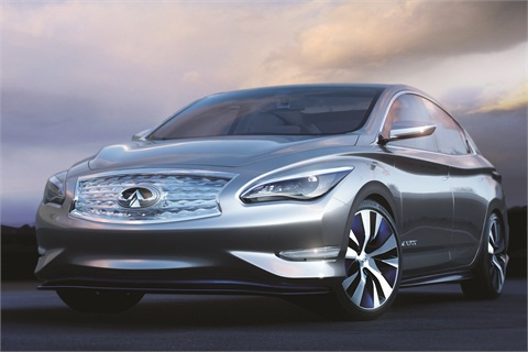 The 2014 Infiniti LE is Infiniti's luxury EV with wireless charging capability. The vehicle automatically positions itself over the wireless charging pad, guaranteeing the most efficient charge.