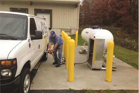 The propane autogas supplier for Lake Michigan Mailers installed the fueling pump and tank — as well as extras such as concrete barriers — on the company premises for free in exchange for a fuel contract.