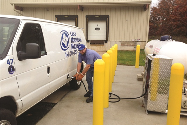 The propane supplier for Lake Michigan Mailers installed the fueling pump and tank — as well as extras such as concrete barriers — on the premises for free in exchange for the fuel contract