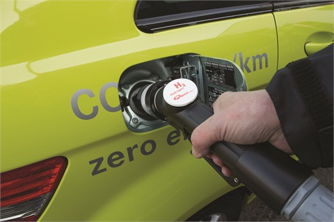 The Mercedes-Benz F-CELL is fueled with hydrogen with a fuel pump, very similar to how a gasoline-powered vehicle is fueled.