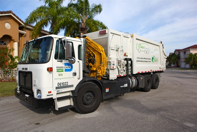 One of Miami-Dade County's Autocar E3 hydraulic hybrid refuse trucks.