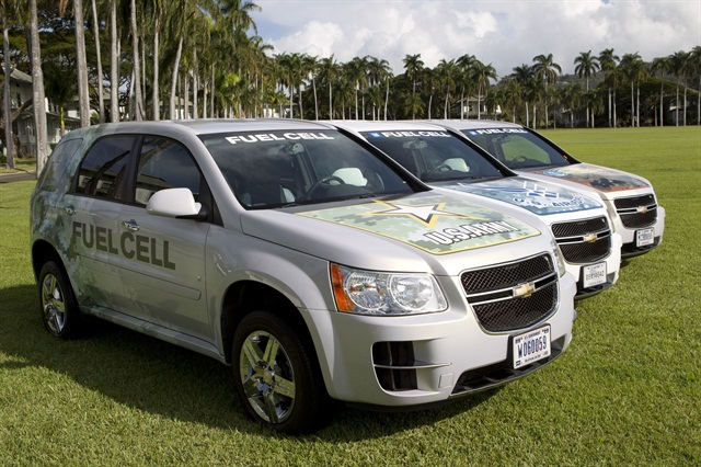 The fleet of 16 General Motors fuel cell vehicles is funded by the Army Tank Automotive Research Development Engineering Center (TARDEC), Air Force Research Laboratories (AFRL), and Office of Naval Research and Air Force Research Laboratories (ONR). Photo by Marco Garcia for General Motors.