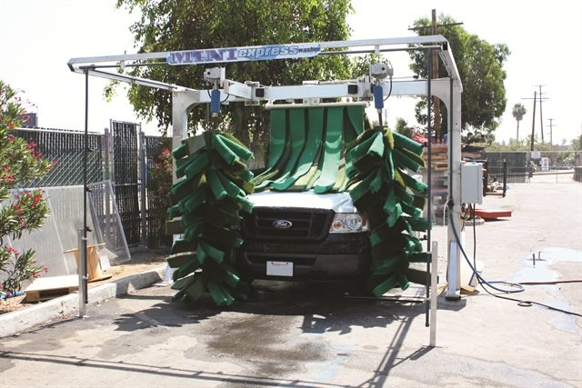 The Mini Express car wash system from NS Wash produces less water than a hand wash and can be leased for $20 to $25 a month.