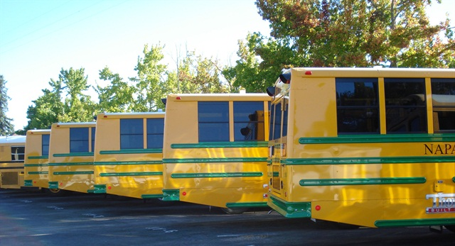 The Napa Unified School District's hybrid buses were delivered painted with green stripes.