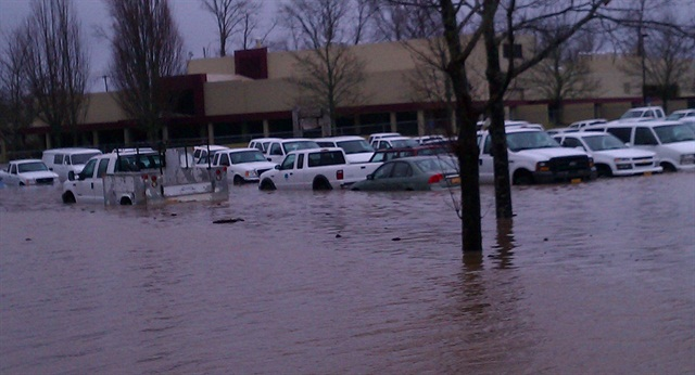 A January 19 flood damaged 160 state vehicles in Salem. Photo courtesy of the State of Oregon DAS.