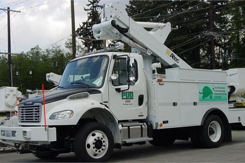 Pictured is a Snohomish County PUD #1 hybrid bucket trucks.